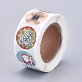 1 rol 500 stickers Wensetiket zegel rond 25mm Kerst 8 soorten
