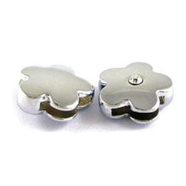 1x DQ Schuiver Bloem 12x12 mm Zilver binnen maat 10x5 mm
