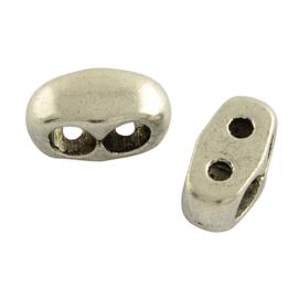 1 stuks  Metalen verdelers, met 2 gaatjes (± 2mm) ± 14x7mm