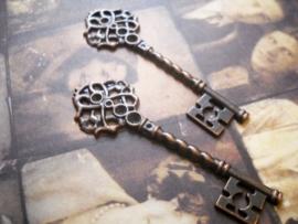 2 x tibetaans zilveren sleutel rood koper kleur 68 x 21 x 3mm gat: 1mm