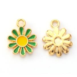 2 x vrolijke metalen bedels bloem groen geel 14 x 12mm