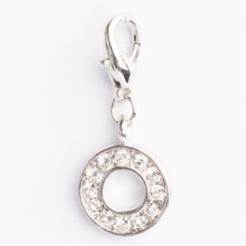Be Charmed letter O bedel met karabijnsluiting zilver met een rhodium laag (nikkelvrij)