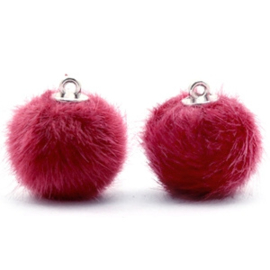 2 x Pompom bedels faux fur 16mm Cherish pink