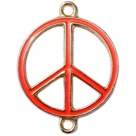 Bedel goud 2 ogen peace Spicy orange ca. 29 x 22 mm