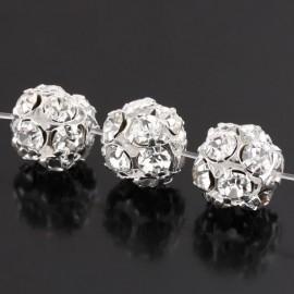 Verzilverde kristal ballen 6mm kristal