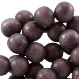 30x Aardse tinten houten kralen rond 6 mm Dark blue purple