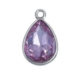 Geboorte steen hanger prachtig kristal facet Juni Licht Amethist 19x12 mm