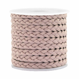 1 meter Trendy plat koord gevlochten silk style 5mm Rose taupe