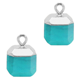 1 xNatuursteen hangers square Turquoise blue-silver Jade