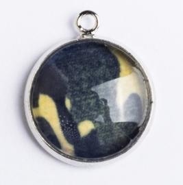 1 x Glazen geel zwart bedel; 16 mm Ø, oog 2 mm