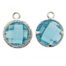 Bedel metaal cubic zirconia facet aqua blauw  13x17mm zilverkleur Op = op!)