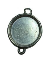2x DQ Zilveren cabochon houder O tussenzetsel binnenzijde: 15 mm