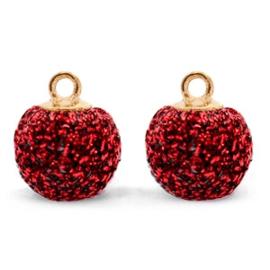 2 x Pompom bedels met oog glitter 12mm Dark red-gold