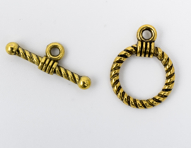 5 x sluiting goudkleur Slotje; 10,3 x 14mm T-stuk  20,5mm