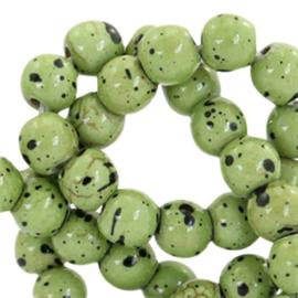 20 x Keramiek turquoise kralen rond 6mm Olive green