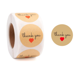 1 rol 500 stickers Wensetiket zegel rond 25mm Thank You