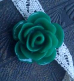 2 x  Kraal Roosje 22mm Glanzend groen met rijggat