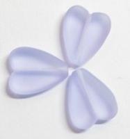 10 x Glaskraal hart licht paars 16 mm
