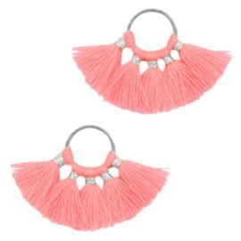 Kwastjes hanger Silver-neon pink