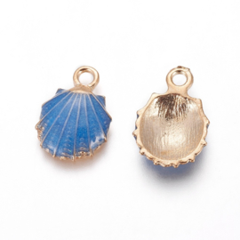 2 x Metalen bedels shell light gold  blue ca. 19 x13 x 4mm oogje 1,4mm