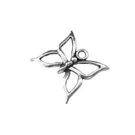 10x Tibetaans zilveren bedel van een vlinder, erg mooi! 18,5 mm x 18mm