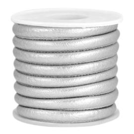 1 rol met  4 meter gestikt imitatie leer 6x4mm Silver metallic (kies voor pakketpost)