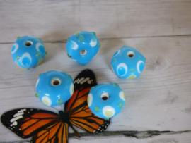 5x Handmade Baby Blauwe Glaskraal Afmeting ca. 13mm Gat: 2,1mm