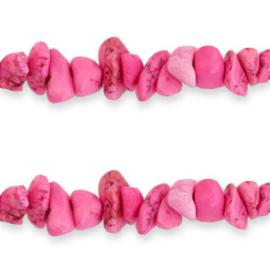 20 x Chips stone kralen Hot pink