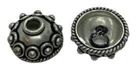 3x Tibetaans Zilveren kralenkapjes 12 mm x 6,5 mm binnenzijde: 8 mm gat: 3 mm
