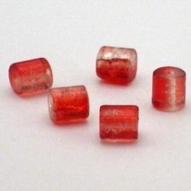 30 stuks crackle glas kralen cilinder vorm 7 x 8mm rood transparant