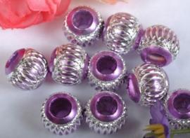 10 x Prachtige lila aluminium kraal 14 mm
