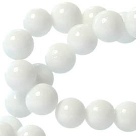 20 stuks  Keramische glaskralen  6mm wit