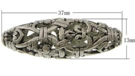 3 x Prachtige Tibetaans zilveren Bali holle kraal 37 x 13mm gat: c.a. 2,5mm