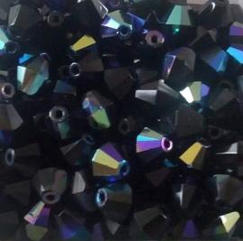 10 Stuks Glaskraal facet konisch antraciet met olieglans 8 mm