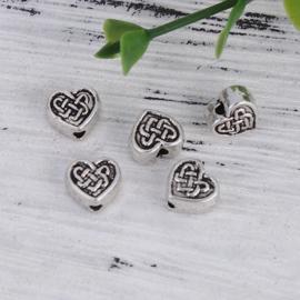 10 keer Tibetaans zilveren kraal 6,5 x 7 x 3,5mm gat: 1mm