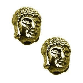 2 x Metalen Kraal Buddha 11x9x8 mm Antiek Brons Ø1.5 mm