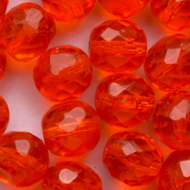 10 x ronde Tsjechië kraal kristal facet 10mm kleur: helder rood gat: 1mm