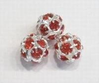 Verzilverde kristal ballen 10mm oranje rood