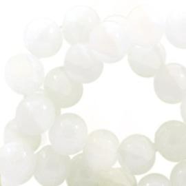 20 x Crackled opal glaskralen 8 mm White