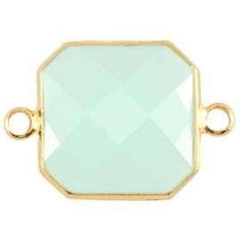 Crystal glas tussenstukken vierkant 16x16mm Crysolite green opal-Gold