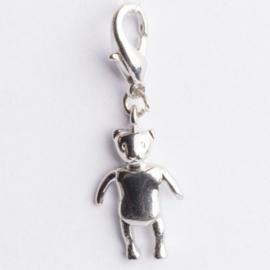 Be Charmed engel popje met karabijnsluiting zilver met een rhodium laag (nikkelvrij)