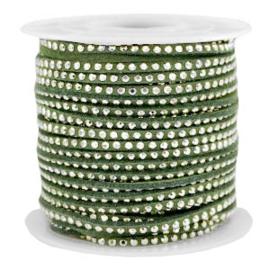 1 meter Imitatie leer 3mm met goud aluminium studs Silver-olive green