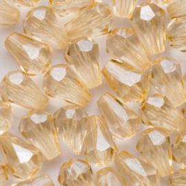 10 x druppel Tsjechië kristal facet glas kraal 8x6 mm gat: 1 mm Kleur: licht geel bruin