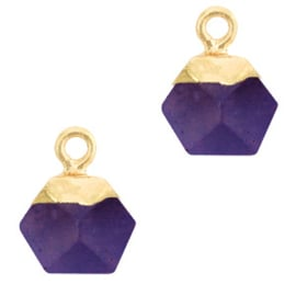1 x Natuursteen hangers hexagon Purple-gold Berg Kristal