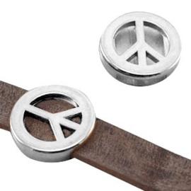 1 x DQ metaal schuiver peace (DQ leer plat 10mm) Antiek zilver