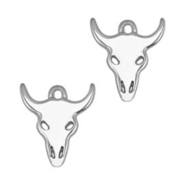 1 x Bedels DQ metaal buffelkop Antiek zilver ca. 18x16mm (Ø1.7mm)