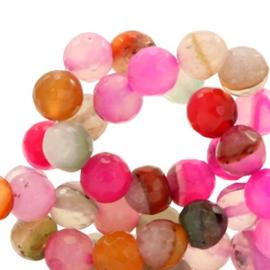 10 x Half edelsteen kralen rond 8mm agaat facet geslepen Multicolor fuchsia-pink opal
