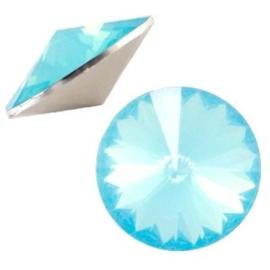 1x BQ quality 1122- Rivoli puntsteen12 mm Aqua blue opal ca. 12 mm (1122)
