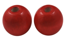 10 x Houten Kralen Rond 12mm gat c.a. 3mm, rood
