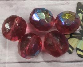10 x prachtige paarse facet glaskraal met glans 11 x 10 mm gat : 1 mm